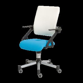 Paidi Schoolworld Tio Schreibtischstuhl Drehstuhl für Kinder Gestell silbergrau Sitz und Lehne mit luftdurchlässigen 3D-Bezug Farbe wählbar