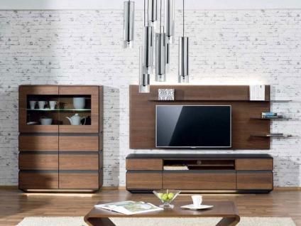 Dkk Klose Zebra Kastenmöbel 7427 Kombination dreiteilig in Ausführung Wildnussbaum / Anthrazit für Wohnzimmer oder Esszimmer Beimöbel Sockelbeleuchtung wählbar