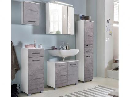 W. Schildmeyer Terra Möbel Badmöbel Set 5-tlg. für Badezimmer mit Spiegelschrank Unterschrank Hochschrank Waschbeckenunterschrank und Oberschrank