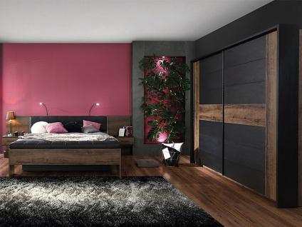 FORTE Bellevue Schlafzimmer 4-teiliges Set mit Bettanlage ca. 180x200cm inkl. zwei Nachtkommoden Sitzbank Schwebetürrenschrank und Passepartout-Rahmen Komplett-Schlafzimmer im Dekor Korpus Schlammeiche Nachbildung Front Schlammeiche Nachbildung kombiniert - Vorschau 2