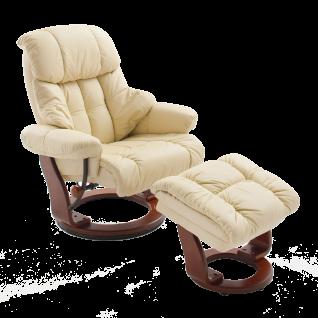 MCA furniture Calgary Relaxsessel inkl. Hocker Bezug Echtleder Gestell Formholz Bezugsfarbe und Gestell wählbar
