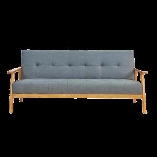 Sit Möbel Schlafsofa 3-Sitzer Bezug dunkelgrau Gestell aus Massivholz