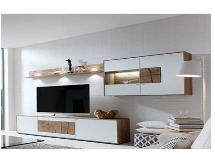 Hartmann Anbauwand 7170-22A oder 7170-22W Caya Wohnkombination 3-teilig mit TV-Element Hängeschrank mit Vitrinenausschnitt und Wandbord Front Mattglas in Weiss oder Anthrazit wählbar