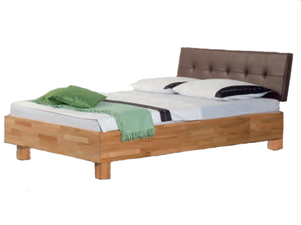 Neue Modular Primolar Bett Misano mit Kopfteil Bergamo und Füße Varese aus Kernbuche Massivholz und Kunstleder braun Liegefläche 180x200 cm