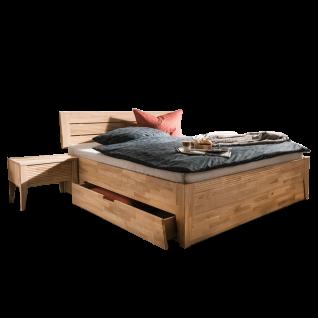 Dico Möbel Malmö System Holzbett mit beidseitigen Bettkasten Farbausführung Kernbuche geölt Liegefläche wählbar optional mit Nachttisch