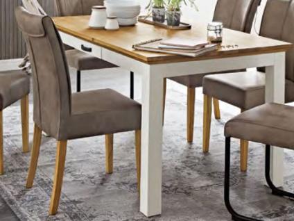 Niehoff Sitzmöbel Malmö Esstisch 4683 im Landhausstil Gestell in Lack weiß und Tischplatte in Wildeiche massiv Tisch mit Schubkasten für Esszimmer oder Ferienhaus in zwei Größen wählbar