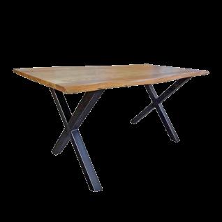 Sit Möbel Esstisch ca. 160 x 85 cm Tischplatte mit Buamkante im Antikfinish Akazie X-Beine Gestell Metall schwarz