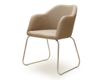 Standard furniture Sessel Theo mit Draht-Kufen-Gestell in Edelstahl oder Metall schwarz Polsterstuhl für Esszimmer Bezug wählbar