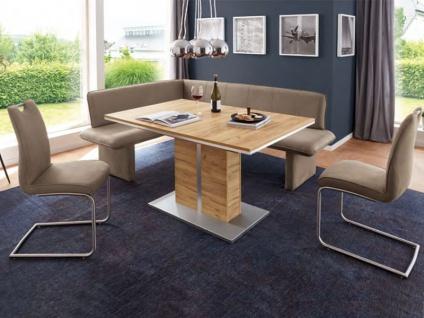 Niehoff Lilly Eckbank mit gepolstertem Wangengestell Designbank in Spitzkissen-Look Bank für Esszimmer Größe und Bezugsfarbe wählbar