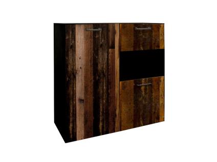 Mäusbacher Texas Highboard 0770-HB_3 für Ihr Wohnzimmer oder Esszimmer mit 3 Türen und 1 offenen Fach Korpusdekor Schwarzstahl Frontdekor Texas oak