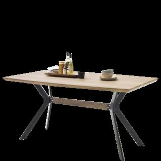 MCA Furniture Esstisch Eliot bootsförmig mit Tischplatte in Wildeiche Antik Nachbildung MDF foliert mit Kantrohrgestell in matt schwarz lackiert Tischlänge wählbar ideal für Ihr Esszimmer