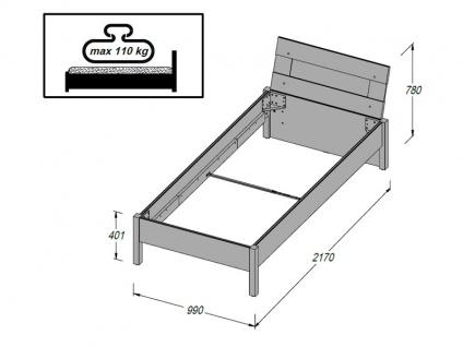 FORTE Beach Jugendzimmer 4-teilig mit Bett Liegefläche ca. 90x200cm Nachttisch Kleiderschrank und Regal Kombination Korpus Sandeiche Nachbildung Frontabsetzung Weiß Dekor - Vorschau 5