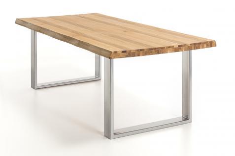 ELFO Baumkantentisch in Wildeiche geölt, 2 Größen, sehr rustikal, Gestell chrom- oder edelstahlfarben, Esstisch für Esszimmer oder Wohnzimmer