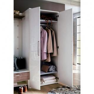 Wittenbreder Roubaix Vorschlagskombination Nr. 06 komplette Garderobe für Ihren Flur und Eingangsbereich 5-teiliges Garderoben-Set in Weiß bzw. Weiß Hochglanz und Trüffel Eiche Nachbildung - Vorschau 3