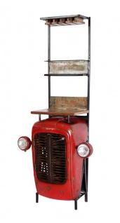 Sit Möbel Barschrank Traktor rot/ bunt aus Altmetall lackiert und Altholz