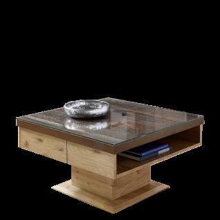 Schröder Kitzalm Alpenflair Wohnzimmer Säulencouchtisch CTD-AAH Ausführung in Alteiche Natur gebürstet furniert und Akzenttischplatte in Alm-Altholz mit einem offenen Fach und Schubkasten Tischgröße wählbar