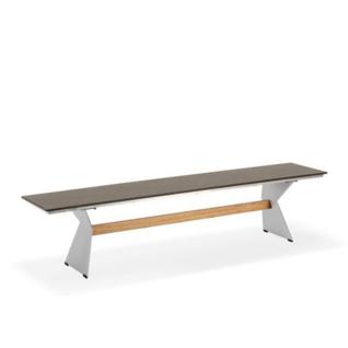 Niehoff Garden Nero Gartenbank G147 Sitzfläche mit HPL-Oberfläche und Winkelwangen Stahl edelstahlfarbig mit Teaksteg für Ihren Garten Größe und Farbe wählbar