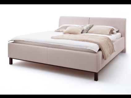 Meise Möbel Bellanotte 4 Polsterbett mit Stoffbezug CHARON mit glattem leicht nach hinten gebogenem Kopfteil Farb- und Fußvariante wählbar optional mit Leisten-Set für Unterkante von Bettseiten und Fußteil