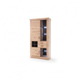 MCA furniture Meran Kombi-Vitrine Art.Nr. MER1QT12 Front Balkeneiche tiefzieh Korpus Balkeneiche Melamin Absetzung anthrazit Beleuchtung mit Aufpreis