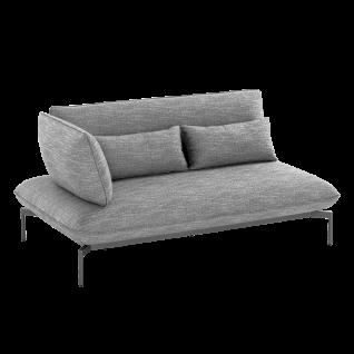Niehoff Garden Valencia Lounge-Sofa G829-100-523 2-Sitzer links mit Aluminiumgestell anthrazit inkl. Sitz- Rücken- und Dekokissen in stoff anthrazit