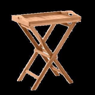 Möbilia Gartenmöbel Gartentisch mit Tablett Massivholz Serviertisch aus Teakholz ca. 60 cm breit