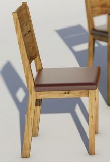 ELFO 2er Set Stuhl Rom-E mit braunem Kunstleder Sitzpolster in Wildeiche massiv geölt für Ihr Speisezimmer oder Esszimmer