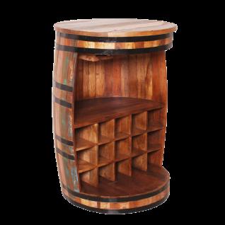 Sit Möbel RIVERBOAT Barschrank aus Altholz bunt lackiert Regal in Fassform Shabby Chic