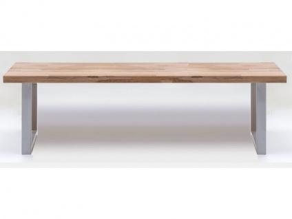ELFO Bank 6757 Sitzbank in Kernbuche-massiv geölt keilgezinkt Metallgestell chromfarben in U-Form für Speisezimmer oder Wohnzimmer