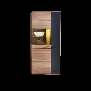 Wohn-Concept Achat Vitrine 45 06 HH 02 mit Anschlag links mit zwei Türen Standvitrine in Wildeiche teilmassiv mit Absetzung in Lack Laminat Graphit inkl. LED-Beleuchtung für Ihr Wohnzimmer