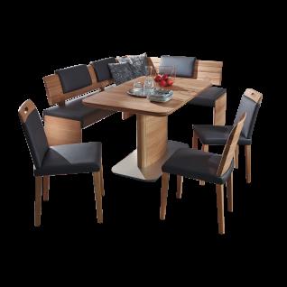 K+W Silaxx Essgruppe Alino 4112 fünfteilig bestehend aus einer charmanten Eckbank einem natürlichen Massivholztisch aus der Modellreihe 5079 und vier Massivholzstühlen aus der Modellreihe 6089 mit verschiedenen Rückenausführungen in dem ansprechenden Echt