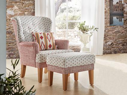 Schröno Sessel DEJA aus der Mallorca Kollektion Sessel optional mit Hocker zweifarbiger Bezug und Echtholzfüße wählbar