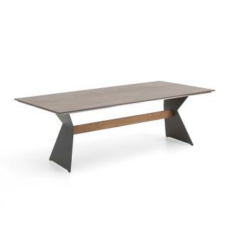 Niehoff Garden Nero Designtisch T1G8 mit HPL-Tischplatte und Winkelwangen Stahl anthrazit pulverbeschichtet mit Teaksteg für Ihren Garten Größe und HPL-Ausführung wählbar