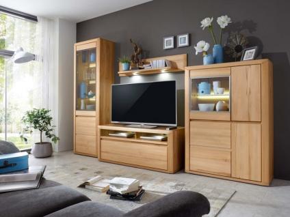 IDEAL-Möbel Wohnwand 4-teilig Korsika Kombination 01 Anbauwand Front in Stab Massivholz geölt Kernbuche oder Alteiche