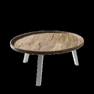 Sit Möbel ROMANTEAKA Runder Couchtisch große Tischplatte in Tablettform Teakholz Beine weiß