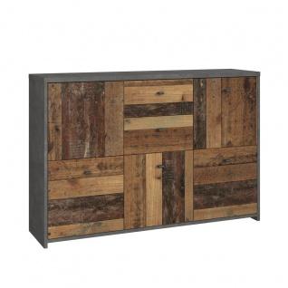 Forte Möbel Best Chest SQNK233 große Kommode mit Schubkästen in Holzoptik Old-Wood und Betonoptik Dunkelgrau