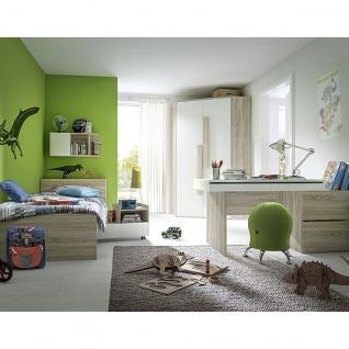 Röhr-Bush shake Jugendzimmer 6-teilig bestehend aus Wangenbett mit Bettkastenelement inkl. Nightroller und Eck-Kleiderschrank, Schreibtisch Platte aufklappbar, Wandregal