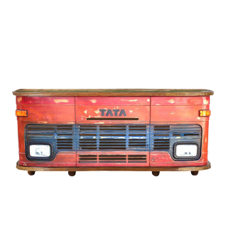 Sit Möbel THIS & THAT LKW-Theke aus Altmetall rot-blau lackiert Rückseite aus Altholz