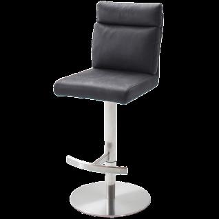 MCA furniture Barhocker Rabea Art.Nr. REBR16GX mit Höhenverstellung Sitz drehbar Bezug Antiklook Grau Gestell Edelstahl gebürstet