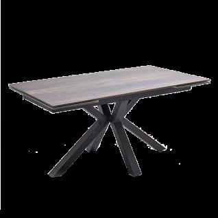 MCA furniture Esstisch Nagano mit Stirnauszug Gestell schwarz Tischplatte Holzoptik barrique aus Keramik/ Sicherheitsglas