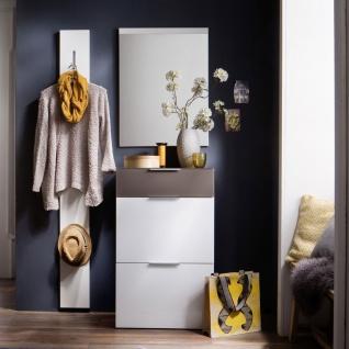 Wittenbreder Stelvio Garderobenkombination Nr. 09 komplette Garderobe für Ihren Flur und Eingangsbereich 3-teilige Vorschlagskombination im Weiß Hochglanz Dekor Weiß Glas und Glas Basalt mattiert - Vorschau 3