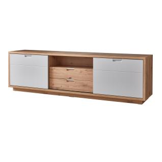 Ideal-Möbel Cala Lowboard 33 in Eiche Artisan Melamin kombiniert mit Weiß matt Folie Rückwände in Eiche Artisan 3D geschroppt