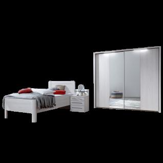 Wiemann Mainau Komfort-Schlafzimmer mit Schwebetürenschrank 2-türig Einzelbett und Nachtschrank in Polar-Lärche-Nachbildung
