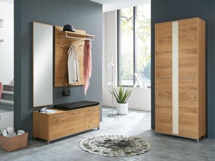 Voss-Möbel Vedo Garderobenkombination 6 5-teilig für Ihren Eingangsbereich komplett in Eiche teilmassiv Front Absetzung weiß