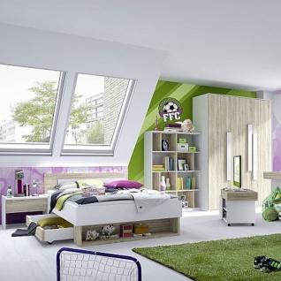 Röhr-Bush shake Jugendzimmer 6-teilig bestehend aus einem Liegenbett mit Kopfteil und Bettkasten auf Rollen Liegefläche ca. 120 x 200 cm inkl. Bettkonsole + Regal- / Medienelement und Kleiderschrank