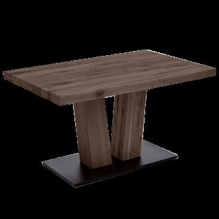 Niehoff Tisch 4393 Jack passend zum Programm Scarlett mit Bodenplatte Oberfläche strukturgehobelt mit V Säule und Bodenplatte schwarz für Esszimmer