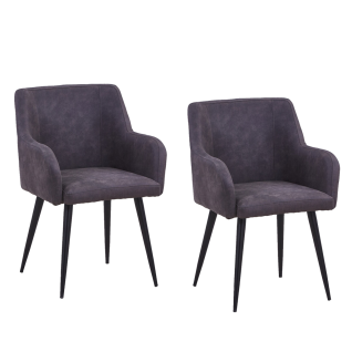Sit Möbel Armlehnstuhl SIT&CHAIRS im Set Bezug grau Gestell Stahl antikschwarz
