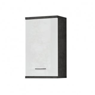 Forte Champ Bad Hängeschrank CMPH072-C272 Front Hochglanz weiß Korpus Betonoptik dunkelgrau für Ihr Badezimmer