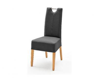 MCA Direkt Stuhl Enya im Lederlook grau 2er Set Polsterstuhl für Wohnzimmer und Esszimmer Ausführung 4 Fuß Massivholzgestell und Chromgriff