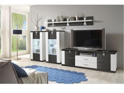 IDEAL-Möbel Wohnwand Manhattan Kombination 15 B inklusive Korpusfrontbeleuchtung in verschiedenen Ausführungen wählbar