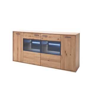 MCA Furniture Portland Sideboard POR17T01 für Ihr Wohnzimmer oder Esszimmer Kommode mit zwei Türen und zwei Glastüren Anrichte in Asteiche bianco teilmassiv mit Fronten aus Massivholz und mit Absetzungen in Anthrazit lackiert Beleuchtung wählbar
